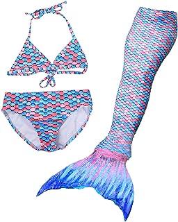 DAYU Girls Bikini Set with Mermaid Tail 3 Pcs Swimsuit Bathing Suits