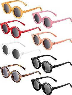 8 Pairs Kids Sunglasses Round Retro Sunglasses Toddler Baby Sunglasses, Age 3-10