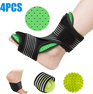 Plantar Fasciitis Night Splint Foot Orthotic Supports Kits - Adjustable Elastic Strap Plantar Fasciitis Braces + Spiky Massage Ball + Arch Supports (2 PCS) for Relieve Planter Fascitis Pain (Green)
