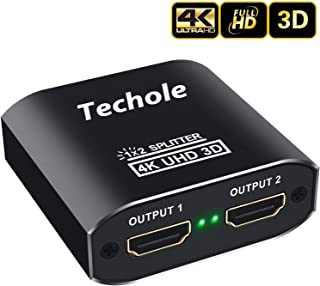 HDMI Splitter 1 in 2 Out - Techole 4K Aluminum Ver1.4 HDCP, Powered HDMI Splitter Supports 3D 4K@30HZ Full HD1080P for Xbox PS4 PS3 Fire Stick Roku Blu-Ray Player Apple TV HDTV