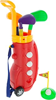 Hey! Play! Toddler Toy Golf Play Set with Plastic Bag, 2 Clubs, 1 Putter, 4 Balls, Putting Cup Indoor or Outdoor Use for Toddlers Boys and Girls