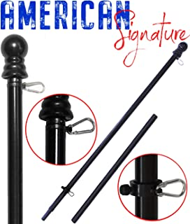 American Signature 6 ft Aluminum Tangle Free Spinning Flag Pole with Carabiners - 2019 New Enhanced Design - Outdoor Wall Mount Flag Pole for Residential or Commercial (Black, 6')