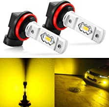 JDM ASTAR Extremely Bright 3600 Lumens High Power H11 H8 H16 LED Fog Light Bulbs for DRL or Fog Lights, Golden Yellow
