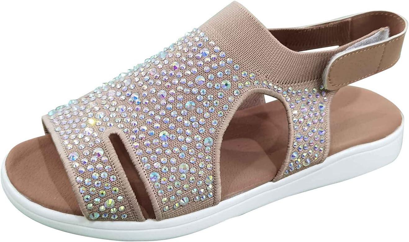 Peep Toe Sandals for Women,Summer Ladies Flat Flip Flops Hook & Loop Mesh Breathable Sandals Shoes