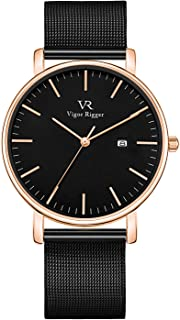 Vigor Rigger Men's Fashion Slim Quartz Date Wrist Watch with Leather & Mesh Band