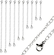 Silver Color 4 Sizes Mudder 8 Pieces Stainless Steel Necklace Extension Chain Bracelet Extender Chain