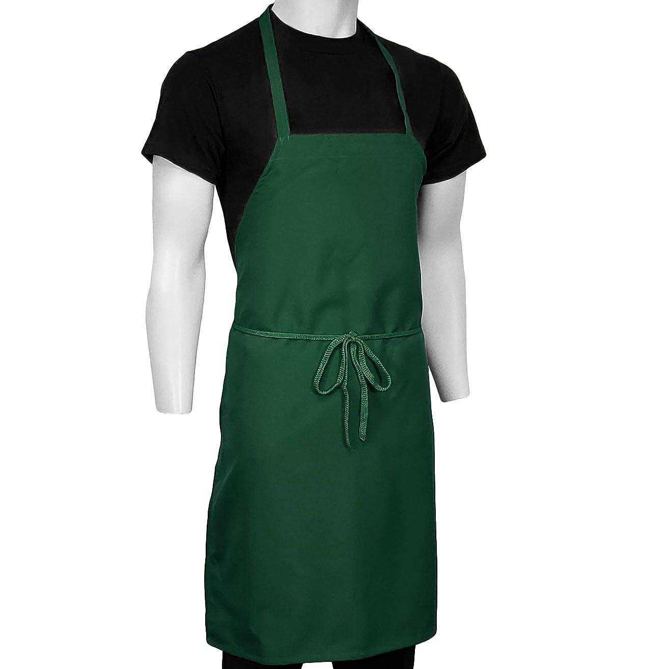 ChefsCloset Pack of 12 Bib Aprons, No Pocket, 100% Easy Wash Polyester (Hunter)