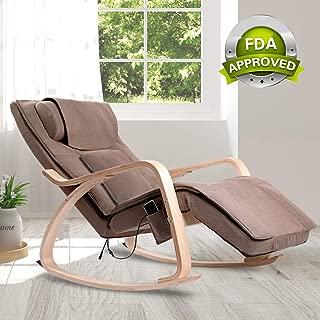 OWAYS Massage Chair 3D Full Back Massager, Rocking Design, Adjustable Pillow, Vibrating and Heating, 6 Massage Modes, Wooden Handrail, Linen Cover with Zipper