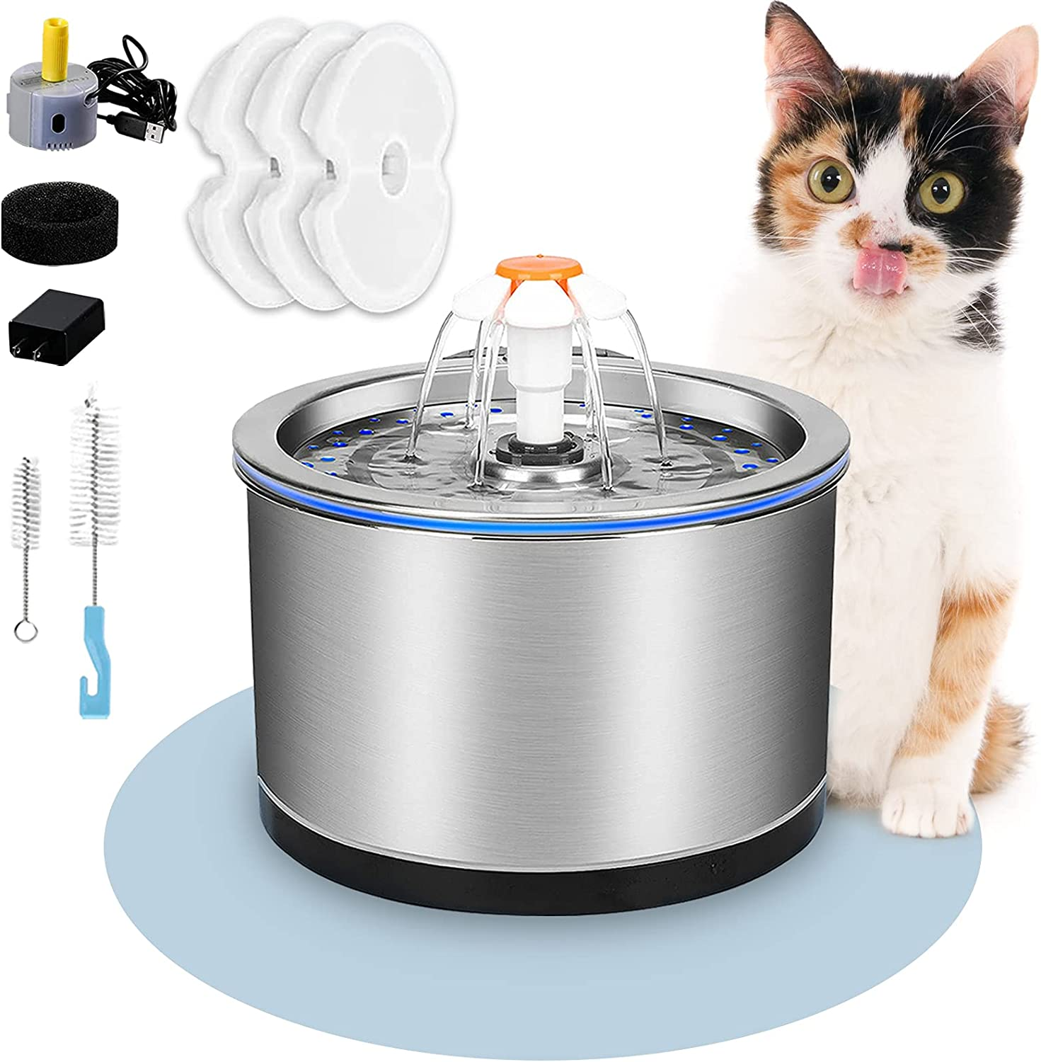 Cat Water Fountain Max 65% OFF Stainless Steel 2.5L Ranking TOP8 Pet 84oz