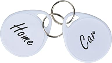 Uniclife 50 Pack Plastic Key Tags with Split Ring Label, White