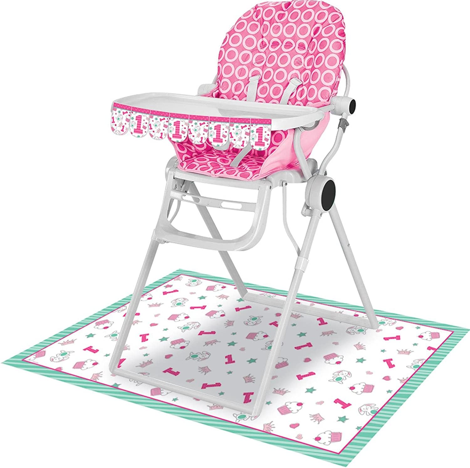 Party Central Club Pack of 6 bluee and Pink Doodle 1st Birthday High Chair Kit 13.5