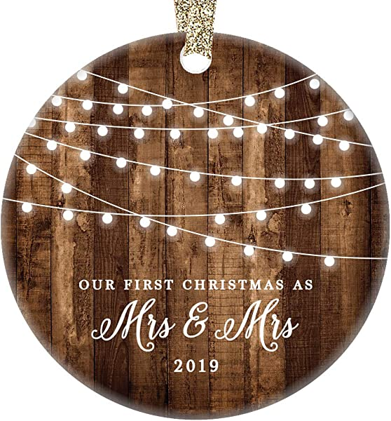Married Lesbian Couple 2019 Christmas Ornament First Christmas Mrs Mrs New Wives Ceramic Same Sex Newlywed Gay Pride Rustic Farmhouse Collectible 3 Flat Circle Porcelain Gold Ribbon Free Gift Box