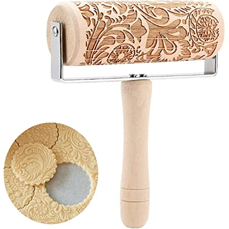 WSGFPO Embossage Rolling Pin Gaufrage Rouleau à Pâtisserie Antiadhésif Rouleau à Pâtisserie d'impression Rouleau à Pâtisserie Gravé avec Motif Rouleau À Pâtisserie en Bois en Relief (1 pièce)