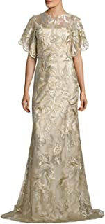 David Meister Metallic Embroidered Evening Gown Dress