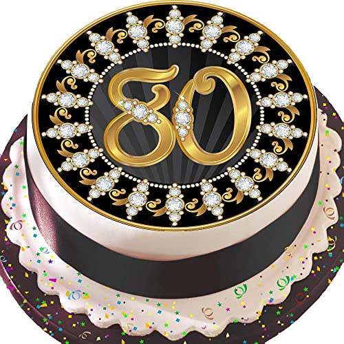 PRECUT Edible Decoration Icing Sheet 75 INCH Round Cake Topper Black And Gold 80TH Birthday Z05