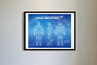 DolanPaperCo #112 Iron Man Mark III Art Print, da Vinci Sketch - Unframed - Multiple Size/Color Options (16x20, Blueprint)