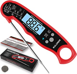 """KULUNER Waterproof Digital Instant Read Meat Thermometer with 4.6"""" Folding Probe Backlight & Calibration Function for Cooking Food Candy, BBQ Grill, Liquids,Beef(red)"""