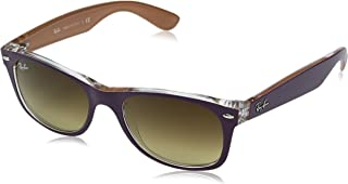 RAY-BAN RB2132 New Wayfarer Sunglasses, Matte Violet On Orange/Brown Gradient, 52 mm