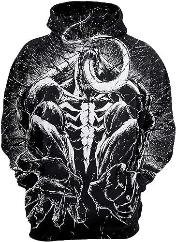 Imzoeyff Unisexe 3D imprimé Sweat à Capuche Pull Super héros Venin Noir à Capuche Pull Mode Décontracté