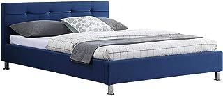 IDIMEX Lit Double pour Adulte Nizza Couchage 140 x 190 cm 2 Places / 2 Personnes, avec sommier et Pieds en métal chromé, r...