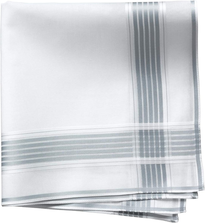 Lehner Switzerland Men's Fancy Woven White Gray Stripe Satin Band Cotton Handkerchief, Hand Rolled Hem