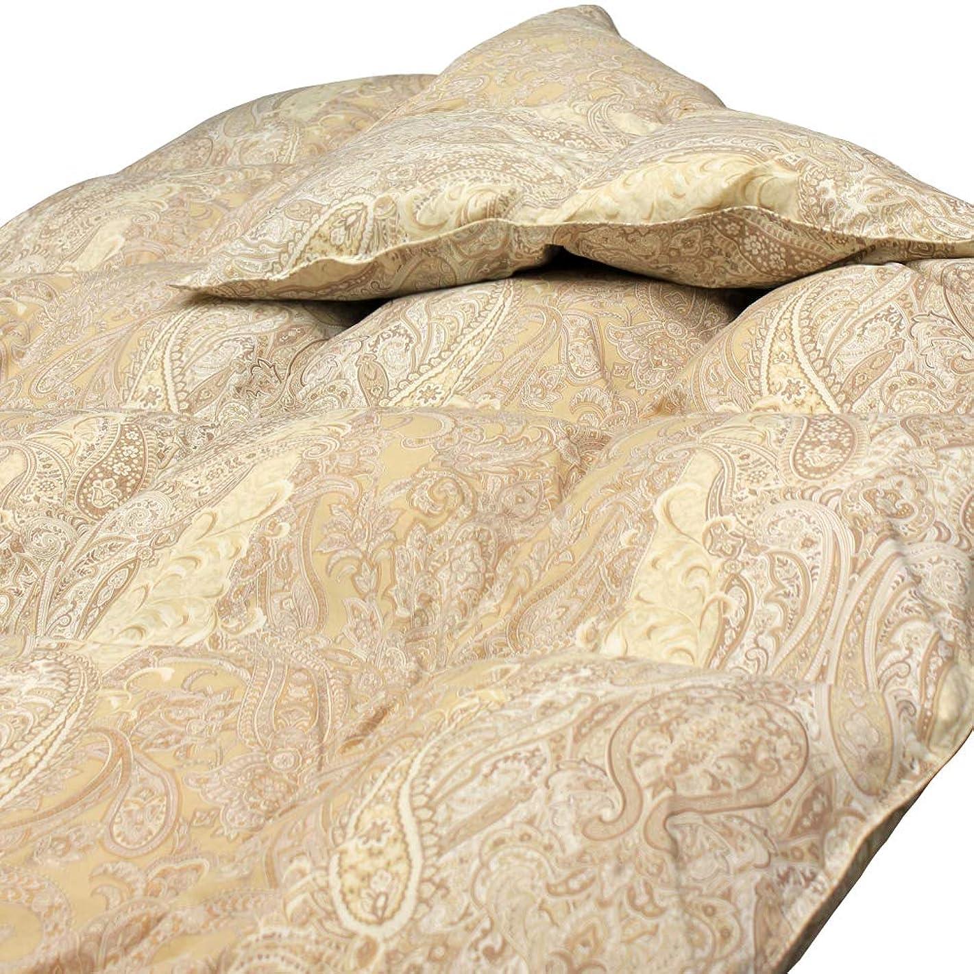 キリン権限を与える異形掛け布団 羽毛入り ボリューム あったか シングル ほこりが出にくい 清潔 抗菌 防臭 防ダニ … (ペイズリー柄(イエロー))