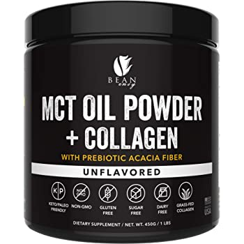 MCT Oil Powder + Collagen + Prebiotic Acacia Fiber - 100% Pure MCT's - Perfect for Keto - Energy Boost - Nutrient Absorption - Appetite Control - Healthy Gut Support - Unflavored