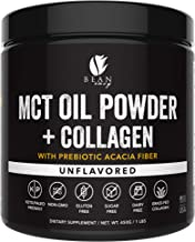 MCT Oil Powder + Collagen + Prebiotic Acacia Fiber - 100% Pure MCT's - Perfect for Keto - Energy Boost - Nutrient Absorption - Healthy Gut Support - Unflavored