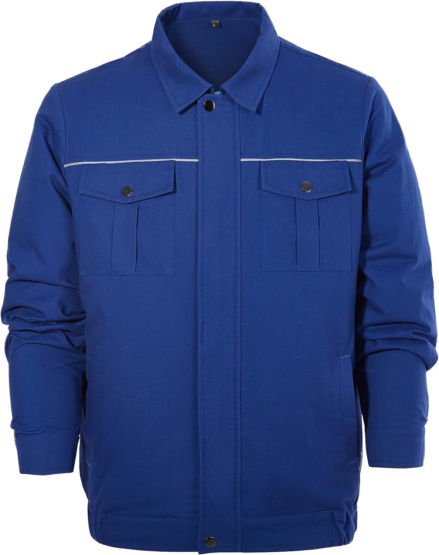 CHIGUO Summer Men's Workwear Lightweight Cooling Fan Long Sleeve Zip Front Jacket Safety Work Shirts