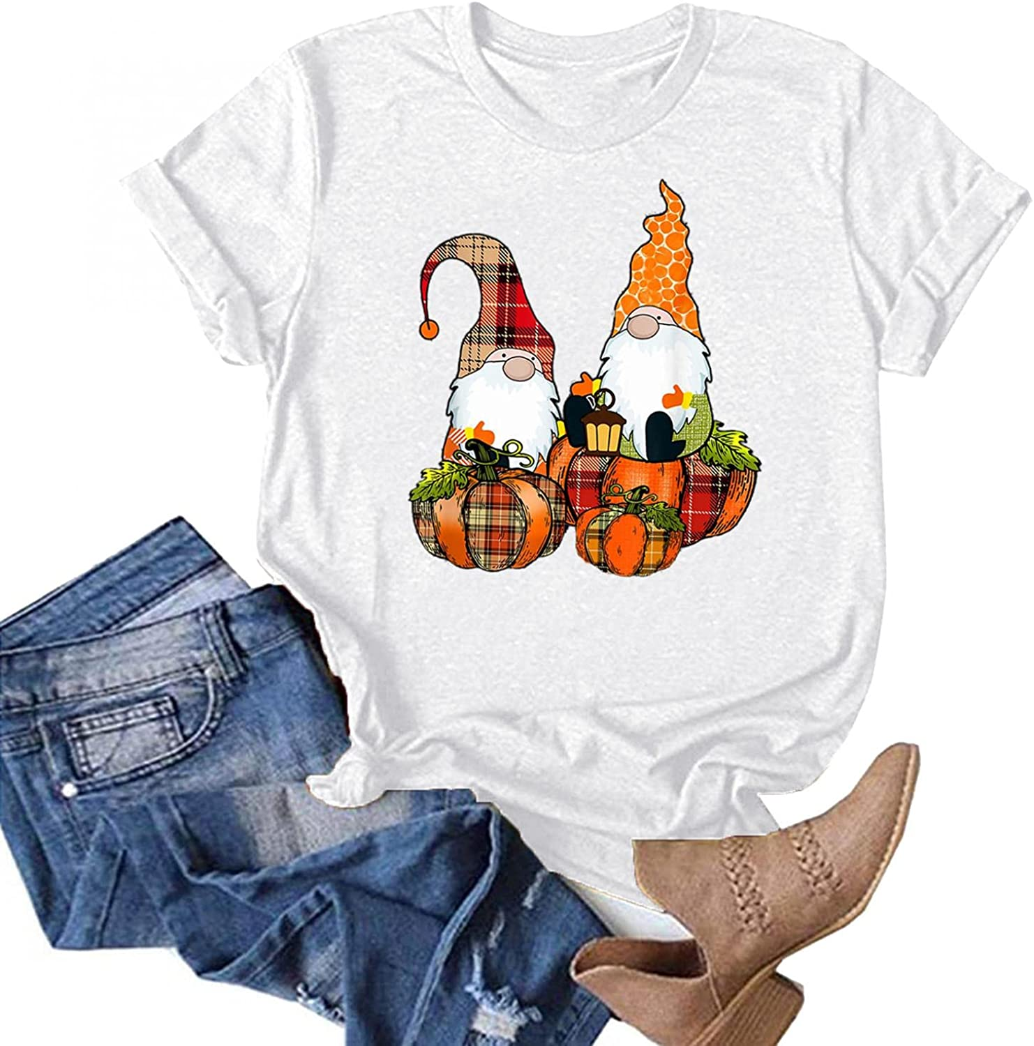 AODONG Halloween Sweatshirts for Women Prime Summer Tops for Women Casual Short Sleeves Halloween Pumpkin Gnomes Graphic T-Shirts Blouse Tops
