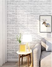 "HaokHome 61022-3 Peel and Stick Faux Brick Wallpaper White/Grey Self Adhesive Bathroom Decorative 17.7""x 9.8ft"
