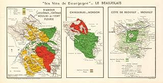 Burgundy Bourgogne Wine MAP Beaujolais Vineyards vignobles AOCs. LARMAT - 1953 - Old map - Antique map - Vintage map - Printed maps of France