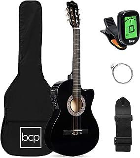 بهترین انتخاب محصولات مبتدی گیتار الکتریک صوتی مبتدی 38 اینچ / تمام طرح برش چوب ، کیف ، بند ، تابلوها ، تنظیم کننده - سیاه