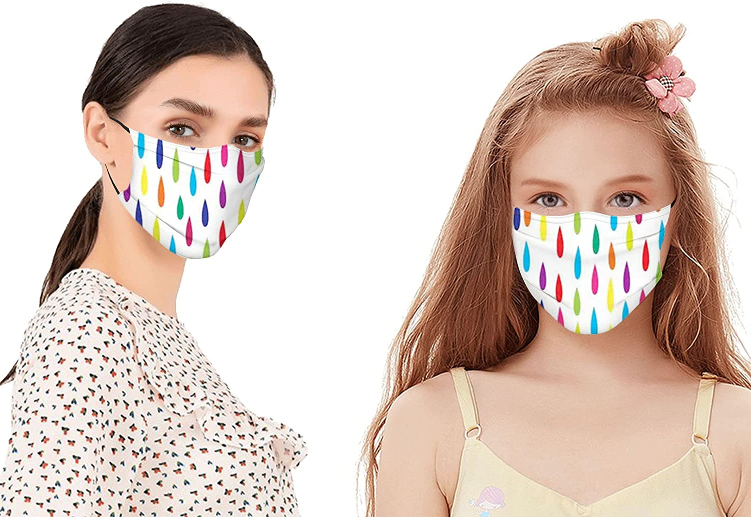 Rainbow Colors of Stylized Raindrop Pattern as Falling Dots Shapes on White Background Mouth Cover for Women,Face Mask Reusable Washable Cloth for Men(2PC with 2 Filter)