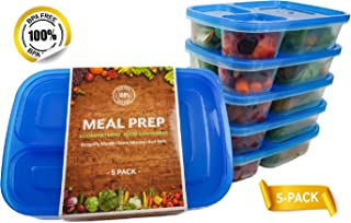 Meal Prep Lunch Containers - BPA Free Bento Boxes with Blue Lids