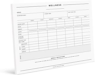 Bliss Collections Wellness and Habit Tracker Notepad, Minimalist Journal for Tracking Sleep, Exercise, Water and Food Inta...
