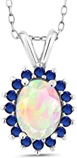 Gem Stone King 1.14 Ct Oval White Ethiopian Opal Blue Simulated Sapphire 14K White Gold Pendant