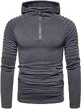iHHAPY Mens Pullover Hoodie 2019 Autumn Winter Solid Sweatshirt Zipper Outwear Fashion Tops Casual Sweat Jacket Slim Fit