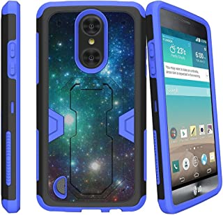MINITURTLE Compatible with LG Rebel 2, LG Phoenix 3, LG Fortune, LG Risio 2 [Blue MAX Defense Case] Protection Hybrid Stand Hard PC/Silicone Combo Clip Case - Galaxy Specs