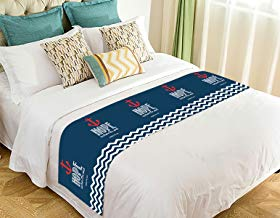 Custom Navy Chevron Hope Anchor The Soul Bed Runner Bedding Scarf Size 20x95 inches