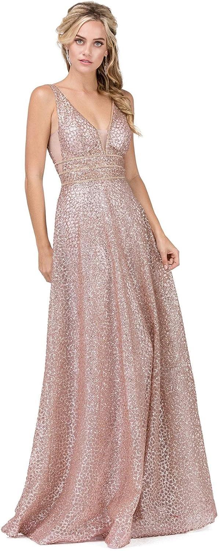 Dancing Queen  2488 V Neckline Sleeveless Illusion Panel ALine Gown