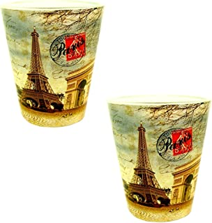 Souvenirs of France - 2 x Paris Eiffel Tower Shot Glasses - Beige