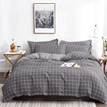 Twin Duvet Cover Set - 68x90 Luxury Soft Microfiber Lightweight Grid Geometric Modern Duvet Quilt Covers with Zip Ties - 2 Piece (1 double cover, 1 bed Pillowcase) for Boys Men , Grey Gray Plaid