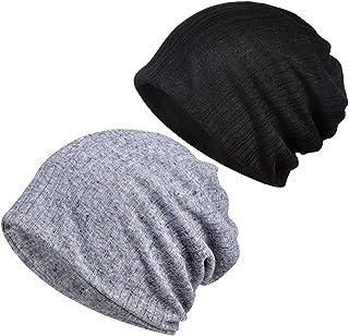 Baeskii 2 PCS Summer Slouchy Beanie Knit Slouchy Hat Soft Hip-Hop Stretchy Sleep Cap Unisex Skull Cap for Men Women
