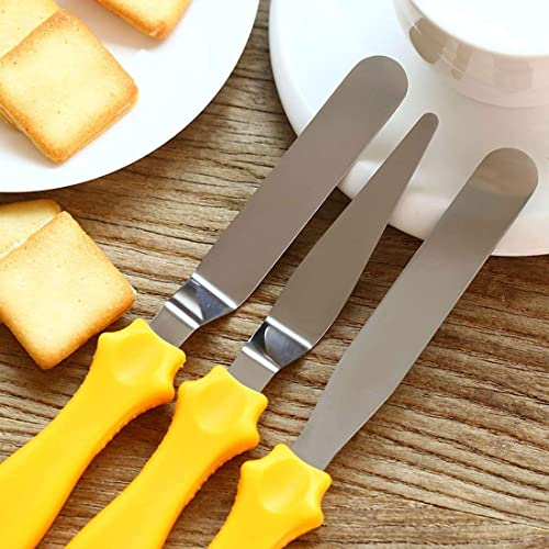 Zollyss 3 In 1 Multi Function Stainless Steel Cake Icing Spatula Knife Set 3 Pieces Multicolor