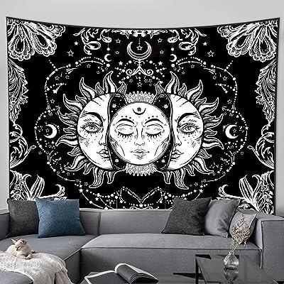 """Amkun Tarot tapiz de pared, diseño de la luna, la estrella y el sol, tapiz medieval de Europa, decoración del hogar, Moon and Sun, 59""""×82"""""""