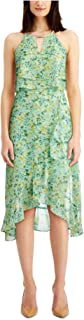 KENSIE Womens Green Floral Sleeveless V Neck Below The Knee Fit + Flare Dress AU Size:16