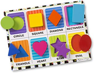 """Melissa & Doug Shapes Chunky Puzzle, Preschool, Chunky Wooden Pieces, Full-Color Pictures, 8 Pieces, 12"""" H x 11"""" W x ..."""