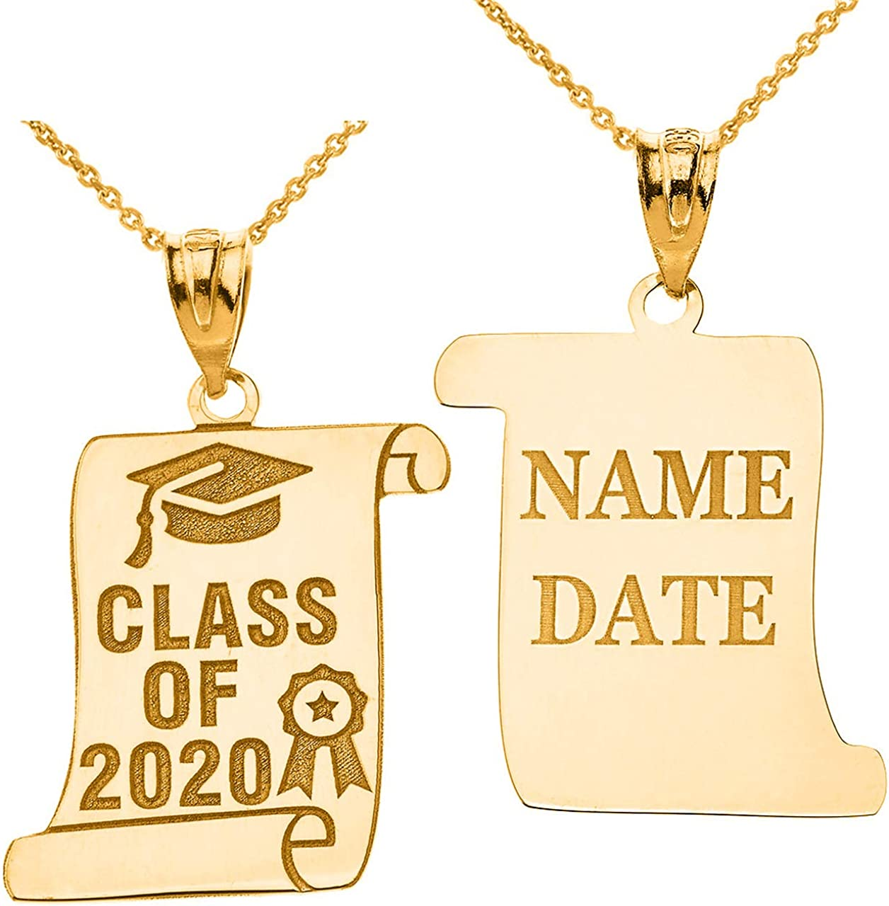 Certified Large discharge sale 10k Gold Personalized Cap Class Ribbon 2020 Regular discount Charm of