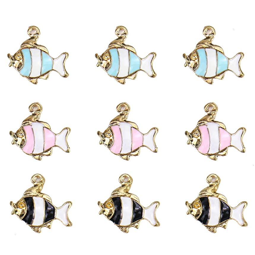Monrocco 18Pcs Enamel Fish Charm Ocean Fish Charm Pendant for Jewelry Making and Crafting